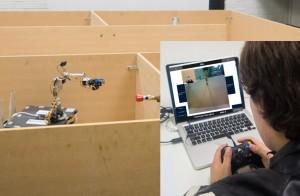 Student teleoperates experimental robot